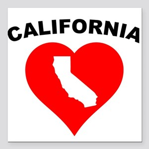 "California Heart Cutout Square Car Magnet 3"" x 3"""