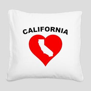 California Heart Cutout Square Canvas Pillow