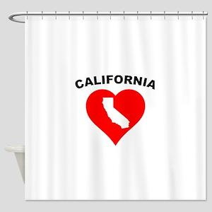 California Heart Cutout Shower Curtain