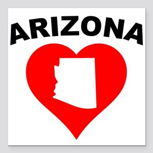 "Arizona Heart Cutout Square Car Magnet 3"" x 3"""