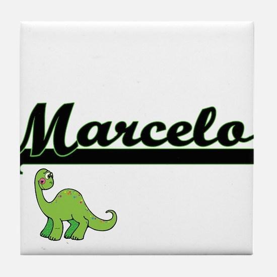 Marcelo Classic Name Design with Dino Tile Coaster
