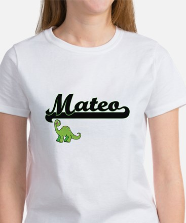 Mateo Classic Name Design with Dinosaur T-Shirt