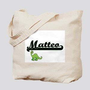 Matteo Classic Name Design with Dinosaur Tote Bag