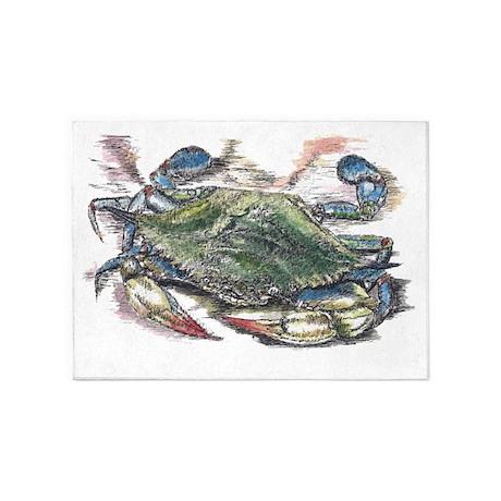 Blue Crab 5 X7 Area Rug