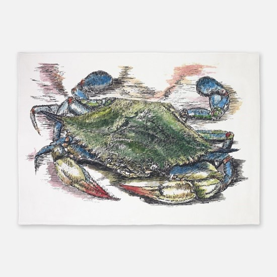 Blue Crab 5'x7'Area Rug