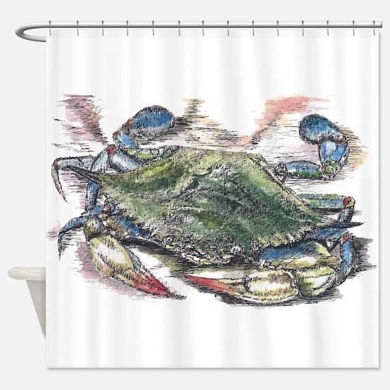 Blue Crab Shower Curtain