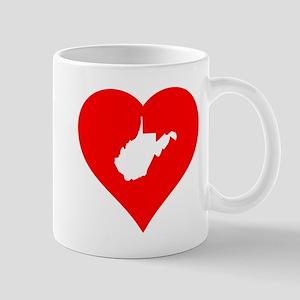 West Virginia Heart Cutout Mugs