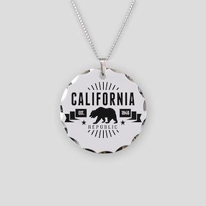California Republic Necklace Circle Charm