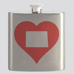 North Dakota Heart Cutout Flask