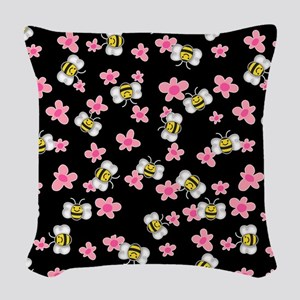 Bee Happy Floral 2 Woven Throw Pillow