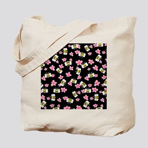 Bee Happy Floral 2 Tote Bag