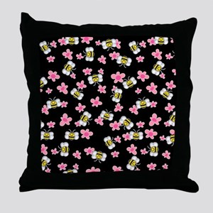Bee Happy Floral 2 Throw Pillow