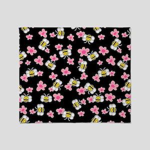 Bee Happy Floral 2 Throw Blanket
