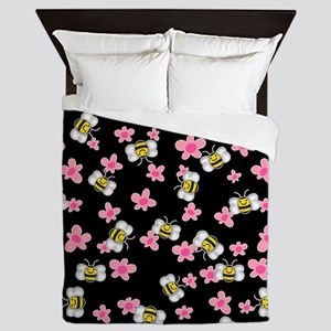 Bee Happy Floral 2 Queen Duvet