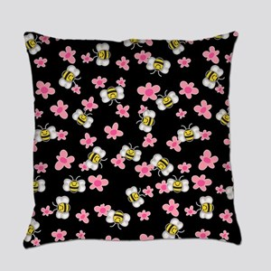 Bee Happy Floral 2 Everyday Pillow