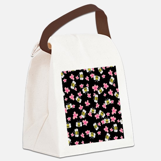 Bee Happy Floral 2 Canvas Lunch Bag