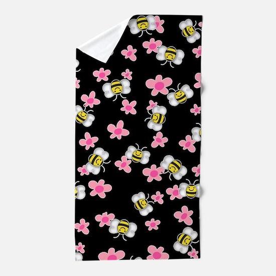 Bee Happy Floral 2 Beach Towel