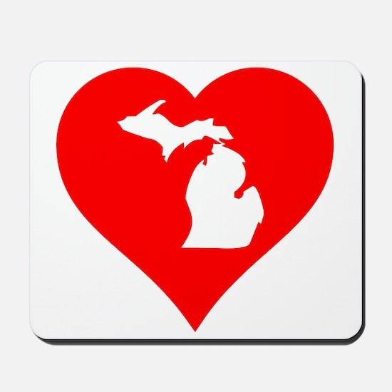 Michigan Heart Cutout Mousepad