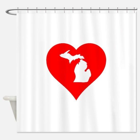 Michigan Heart Cutout Shower Curtain
