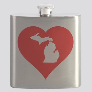 Michigan Heart Cutout Flask