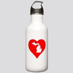 Michigan Heart Cutout Water Bottle