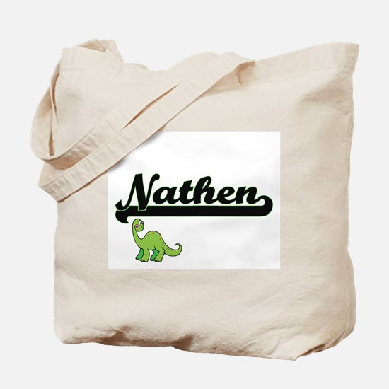 Nathen Classic Name Design with Dinosaur Tote Bag