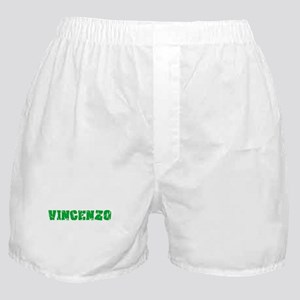 Vincenzo Name Weathered Green Design Boxer Shorts