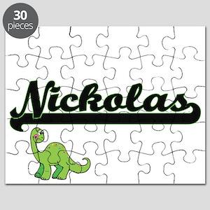 Nickolas Classic Name Design with Dinosaur Puzzle
