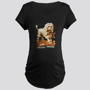 VICTORIAN POODLE ART Maternity Dark T-Shirt