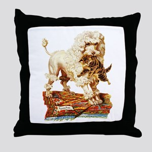 VICTORIAN POODLE ART Throw Pillow