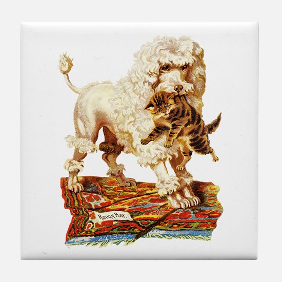VICTORIAN POODLE ART Tile Coaster