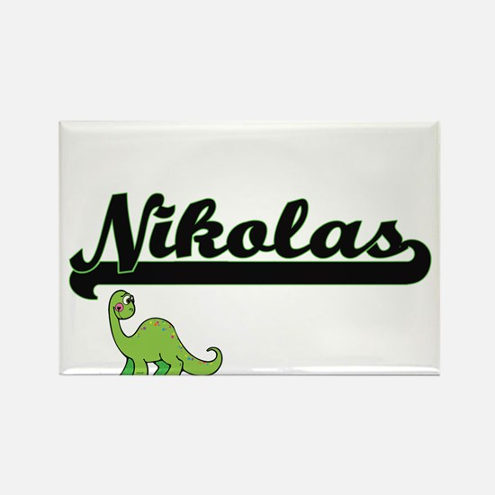 Nikolas Classic Name Design with Dinosaur Magnets