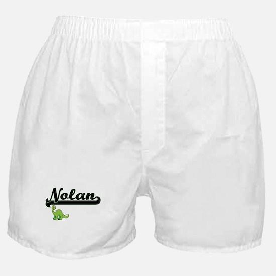 Nolan Classic Name Design with Dinosa Boxer Shorts