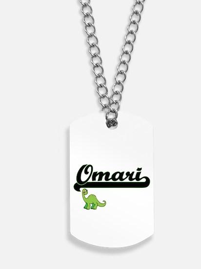 Omari Classic Name Design with Dinosaur Dog Tags