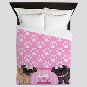 Pug Cuties Pink Stripes and Paws Queen Duvet