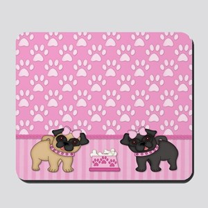 Pug Cuties Pink Stripes and Paws Mousepad