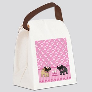 Pug Cuties Pink Stripes and Paws Canvas Lunch Bag