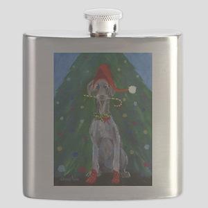 Christmas Weimaraner Flask
