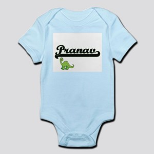 Pranav Classic Name Design with Dinosaur Body Suit