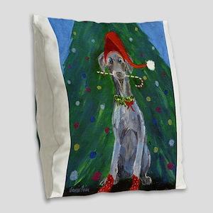 Christmas Weimaraner Burlap Throw Pillow