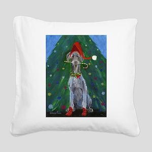 Christmas Weimaraner Square Canvas Pillow