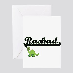 Rashad Classic Name Design with Din Greeting Cards