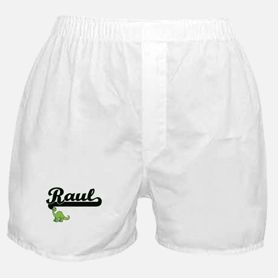 Raul Classic Name Design with Dinosau Boxer Shorts