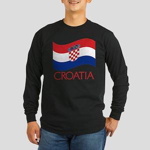 Croatia Waving (C) Long Sleeve Dark T-Shirt