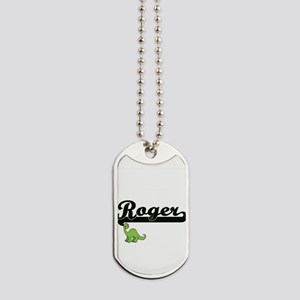 Roger Classic Name Design with Dinosaur Dog Tags