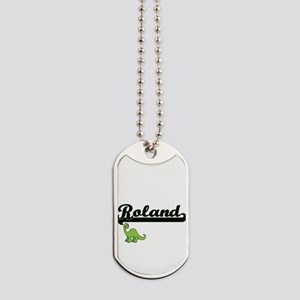 Roland Classic Name Design with Dinosaur Dog Tags