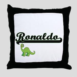 Ronaldo Classic Name Design with Dino Throw Pillow
