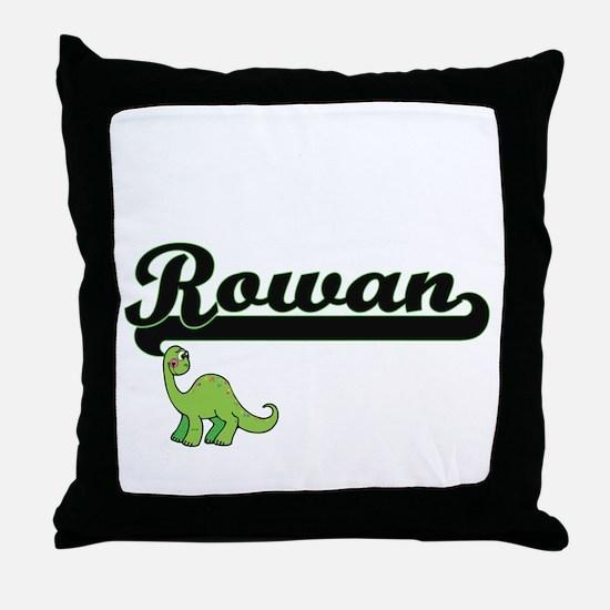 Rowan Classic Name Design with Dinosa Throw Pillow