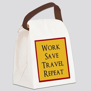 Work Save Travel Repeat Canvas Lunch Bag
