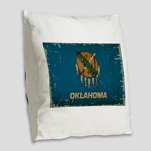 Oklahoma State Flag Burlap Throw Pillow